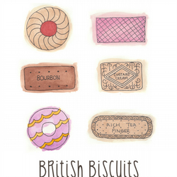 British Biscuits - 8 x 10 Watercolour Print