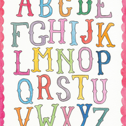 Alphabet - 8 x 10 Watercolour Print