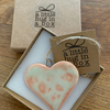 Hand Made Peach Speckled Porcelain Heart