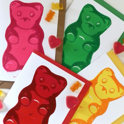 4 x Linocut Gummy Bear cards or notelet all 4 flavours