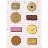 The Classics, A4 sized illustration of custard cream, bourbon, pink wafer retro