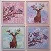 Deer and Bird Coaster Set