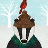 Winter Chums, A3 sized illustration of a badger and a Red Cardinal in the snow