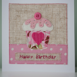 Birthday Cupcakes Embroidered Birthday Card