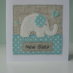 Baby Elephant with Heart, Handmade Baby Card