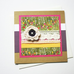 SALE Blank Card Crochet Flower