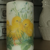 Decorated candle Easter Spring chicks Snowdrops napkin decoupage