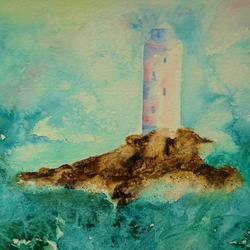 Watercolour Lighthouse ORIGINAL with FREE UK postage