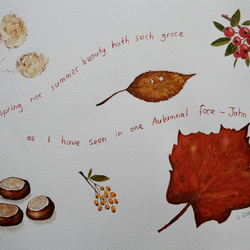Autumn Watercolour ORIGINAL with FREE mount
