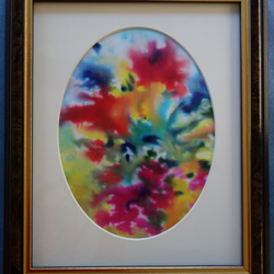 Silk Painting Abstract Flowers MOUNTED ORIGINAL with FREE UK POSTAGE