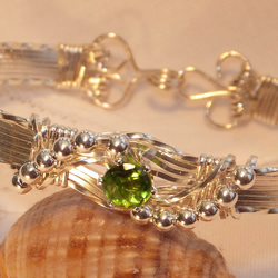 Beautiful handmade Sterling Silver and Peridot Bracelet