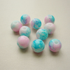 10 Pink and Blue Marble Glass Round Beads