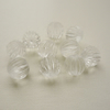 10 Clear Round Ribbed Beads