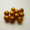 10  Gold Foil Lined Round Glass Beads