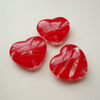 3 Clear and Red Striped Flat Heart Beads