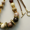 Caramel and Gold Tone Mixed Bead Necklace  KCJ717
