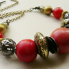 Chunky Red and Coral Mixed Metal Beaded Necklace   KCJ667