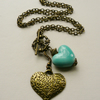 Pale Turquoise Ceramic and Antique Bronze Heart Necklace   KCJ475