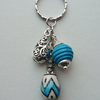 Blue and White Ceramic Bead Keyring   KCJ869