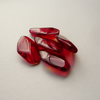 5 Red Flat Oval Glass Beads