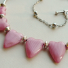 Collar Necklace Pink Glass Heart and Silver Tube   KCJ896