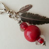 Red and Silver Feather Keyring  KCJKY912