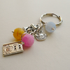 Pastel Coloured Frosted Agate Bead  Baking Themed  Keyring   KCJ928
