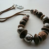 Chunky Nut Brown and Silver Beaded Necklace   KCJ783