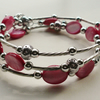 Cranberry Pink Shell Bead Wrap Around Memory Wire Bracelet   KCJ995