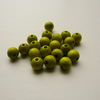 20 Lime Green Round Wooden Beads