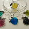 Glass and Small Silver Leaf Wine Glass Charms Set of 6  WG9