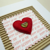 Red Felt Heart Sea Glass Embellished Greetings Card