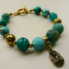 Turquoise and Gold Tone Egyptian Style Mixed Bead Charm Bracelet   KCJ613