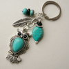 Turquoise Howlite and Black Glass Beaded Tibetan Silver Owl Keyring   KCJ1252
