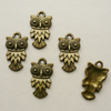 5   Antique Bronze Owl Charms