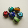 6  Glass Lampwork Round  Coloured Banded Beads