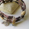 Memory Wire Bracelet Madagascan Fossil Earth Tones Bead Feather KCJ1822