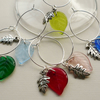 Wine Glass Charms Multicoloured Flat Glass and Silver Leaf  KCJ1688