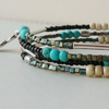 Memory Wire Wrap Bracelet Bangle Turquoise Black Cream Mixed Bead   KCJ1683