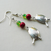 Red and Green Christmas Robin Silver Dangle Earrings    KCJ1863