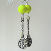 Bright Neon Yellow and Silver Tennis Themed Dangle Earrings KCJ2129