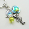 Sea Green Iridescent Mermaid Scale Silver Seahorse Keyring Bag Charm  KCJ2306