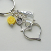 Gin and Tonic Ice and a Slice Keyring Bag Charm Clear  Yellow  Silver   KCJ2302
