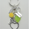Gin & Tonic Ice & a Slice Keyring Bag Charm Clear Lemon Green Silver   KCJ2353