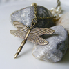 Dragonfly glass pearl necklace