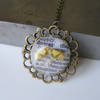 Sale! Vintage dictionary and real flower pendant