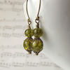Vintage inspired green glass earrings - handmade in the UK by The Autumn Orchard