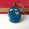 Real flower baby's breath necklace in cerulean blue