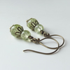 Vintage inspired pale green glass earrings