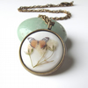Summer solstice - butterfly & real flower necklace